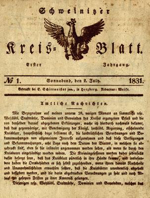 Erste Ausgabe des Schweinitzer Kreisblatts von 1831