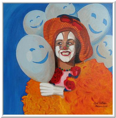 Frauen Clown/68x80 cm Acryl auf Hatfaserplatte Preis 350€