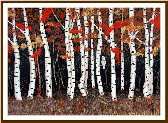 Birkenwald 70 x 100 cm Acryl auf Karton Preis 650 €