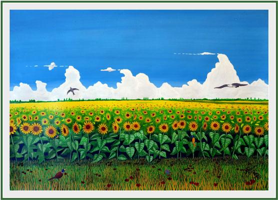 Sonnenblumenfeld/59x84 cm Acryl auf Papierkarton Preis 599 €