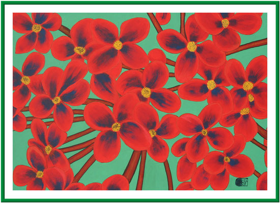 Blumen/ 50x70 cm Acryl auf Hartfaserplatte Preis 180 €