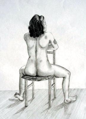 Frauenakt sitzend Graphit auf Papier 50 x 37 cm  € 65