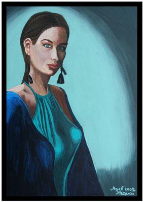 Frau in Türkis/70x50 cm Acryl auf Hartfaserplatte Preis 350 €