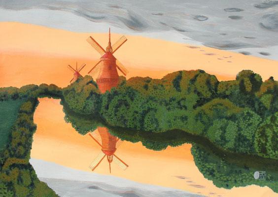 Windräder bei Sonnenuntergang/70x50 cm Acryl auf Hartfaserplatte Preis 350 €