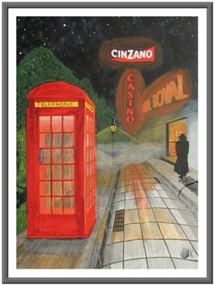 rote Telefonzelle/60x50 cm Acryl auf Hartfaserplatte Preis 180 €