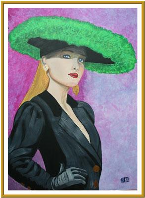 Lady mit Hut/100x70 cm Acryl auf Hartfaserplatte Preis 450 €
