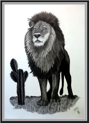 Löwe 112 x 82 cm Graphit auf Karton 650 €
