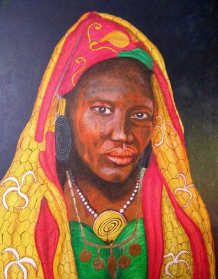 schwarze Frau mit Kopftuch/70x50 cm Acryl auf Hartfaserplatte Preis 399 €