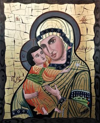 Ikone Madonna mit Kind Acryl auf Karton 450 €