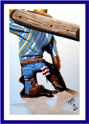 Cowboy mit Holzbalken/ 82x56 cm Acryl auf Papierkarton Preis 599 €