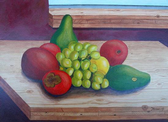 Obst auf Holzplatte/40x50 cm Acryl auf Hartfaserplatte Preis 130 €