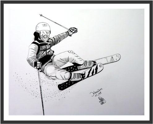 Skifahrer in Aktion 1 Graphit auf Karton  50 x 64 cm € 350