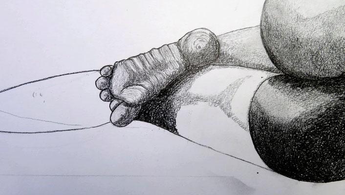 Akt liegend 6    1,00x0,55 cm Graphyt auf Papier