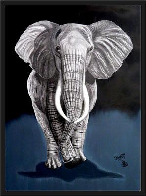 Elefant 112 x 82 cm Graphit/ Acryl auf Karton 750 €