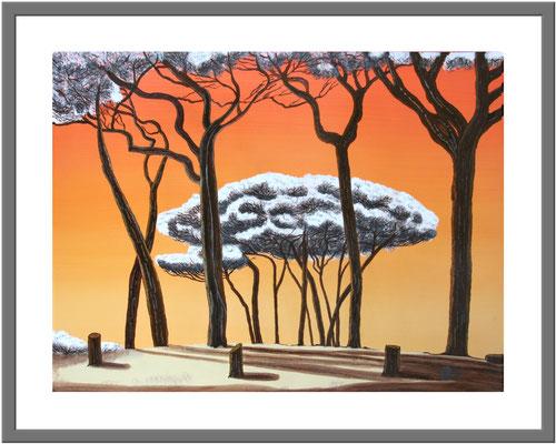 Pinien beim Sonnenuntergang/ 60 x 80 cm Acryl auf Hartfaserplatte Preis 180 €
