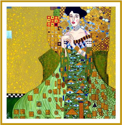 Gustav Klimt abgewandelte Imitation/120x120cm Acryl auf Hartfaserplatte Preis 2.900 €