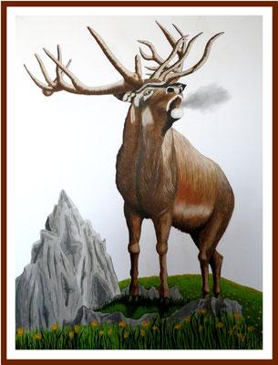 Hirsch 112 x 82 cm Acryl/Farbstifte auf Karton 750 €