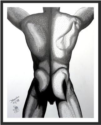 Männerakt Rückenansicht 1 64 x 50 cm Graphit auf Karton € 450