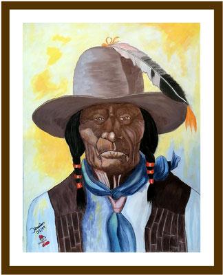 Indianer mit Hut/63x50 cm Acryl/Farbstifte auf Papierkarton Preis 599 €