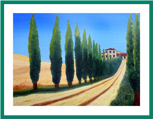 Allee in der Toskana/ 50x70 cm Acryl auf Papier Preis 180 €