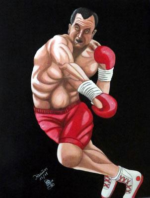 Klitschko im Kampfeinsatz 63 x 50 cm Acryl auf Karton € 350