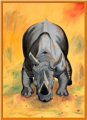Nashorn 180 x 130 cm Acryl auf Harfaserplatte 850 €