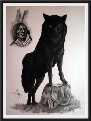 Wolf 112 x 82 cm Graphit auf Karton 650 €