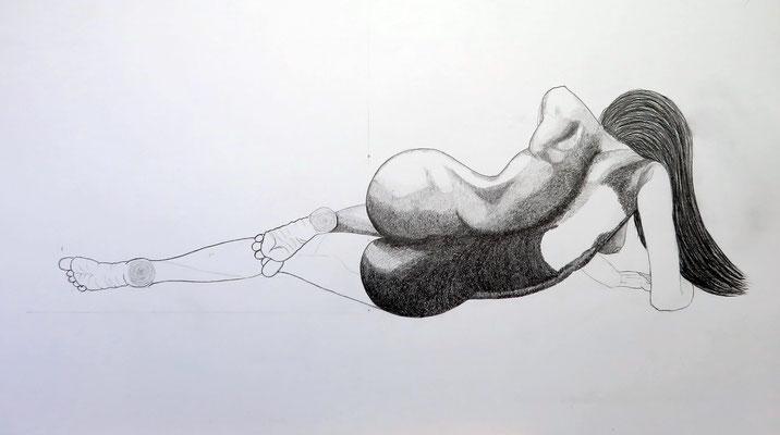 Akt liegend 3    1,00x0,55 cm Graphyt auf Papier