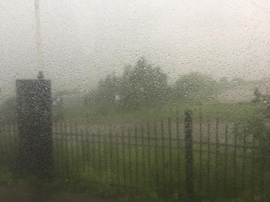 Unwetter auf unserem Parkplatz nahe Oktjabrski