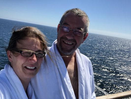 2018 - nach der Sauna auf dem Sonnendeck