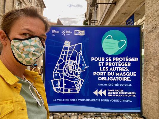 Im Zentrum von Dole ist momentan Maskenpflicht auch auf der Straße