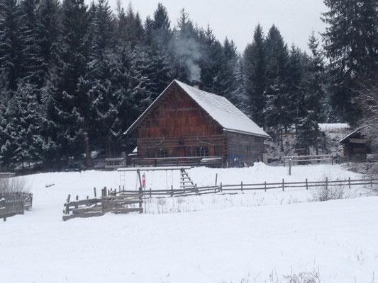 Und hier noch die urige Holzfällerhütte Eselalm, gerade mal zehn Minuten vom Camping entfernt