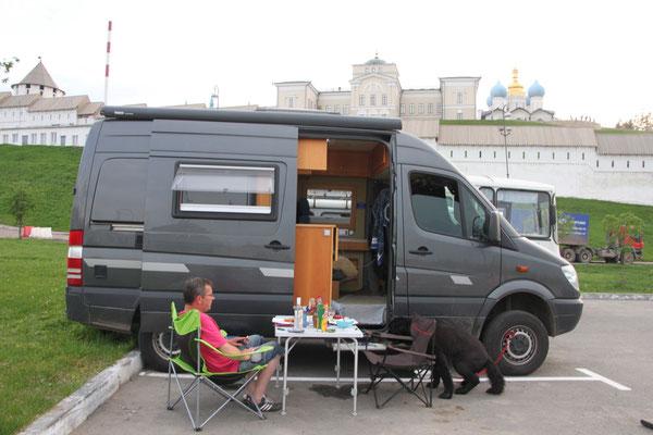 Parkplatz in Kazan mit Blick auf Kreml (2013)
