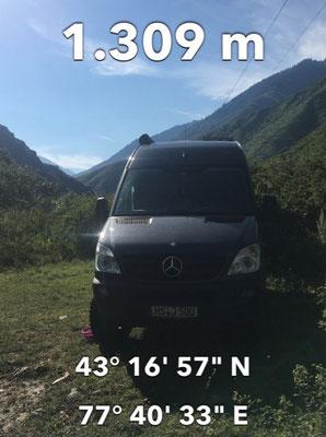 GPS Koordinaten vom Übernachtungsplatz im Nationalpark Ile-Alatau bei Turgen