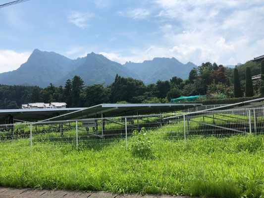Feld mit Solarzellen unterwegs