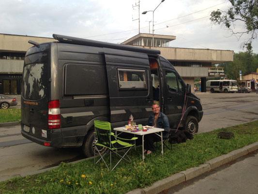 Straßenrand in Petrozavodsk - direkt am Fähranleger nach Kizhi (2014)