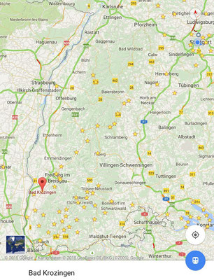 Landkarte von der Breisgau-Klink zum Bahnhof am 5.8.2015 nach Stuttgart_in Karlsruhe umsteigen