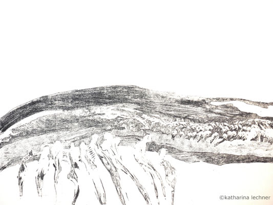 Wo gehen wir hin? 1. Zustand, Ätzradierung, 40 x 50 cm (Plattenformat), 2016