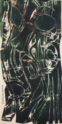Ohne Titel, Hochdruck, 40 x 80 cm (Plattenformat), 1. Zustand, grün, Unikat, 2017
