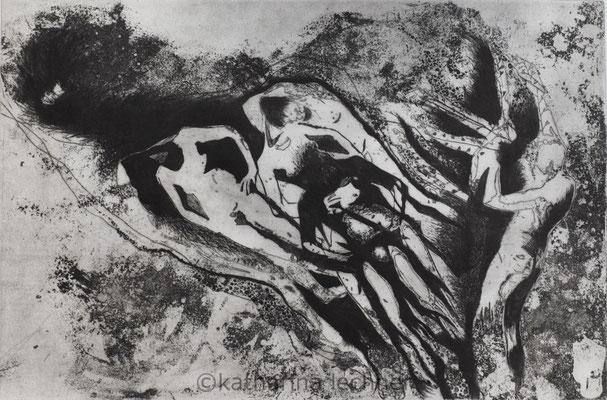 Häutung II  Intagliotypie, Ätzradierung, Mezzotinto, Kaltnadel, 60 cm x 40cm, 2018
