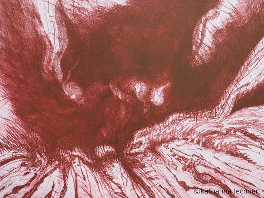 Sturz in eine ungewisse Zukunft, Ätzradierung, Kaltnadel, Mezzotinto, rot, 40x50cm (Plattenformat)