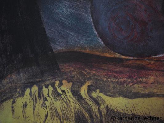 Wo gehen wir hin? 3. Zustand, Ätzradierung, 40 x 50 cm (Plattenformat), Farbvariation, (Unikat), 2016