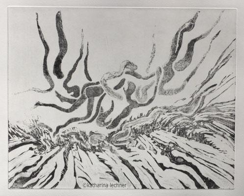 Sturz in eine ungewisse Zukunft, 1. Zustand, Ätzradierung, 40x50cm (Plattenformat)