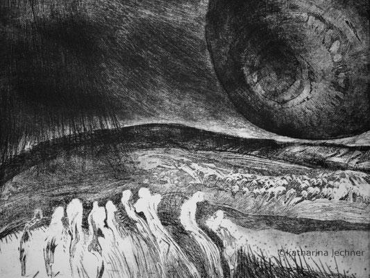 Wo gehen wir hin? 3. Zustand, Ätzradierung, 40 x 50 cm (Plattenformat), 2016