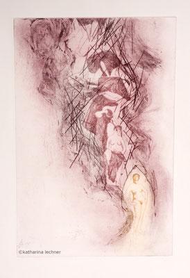 Endlich frei!, 70 x 40 cm, Kaltnadel, Ätzradierung, 2019, zweifarbig