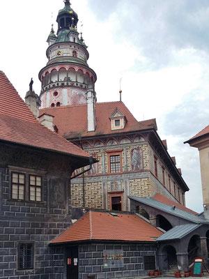 Montag: Schlossturm des Schlosses Krumau
