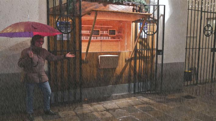 Vierter Adventsamstag, wegen Regen wurde die Punschhütte in den Pfarrsaal verlegt.