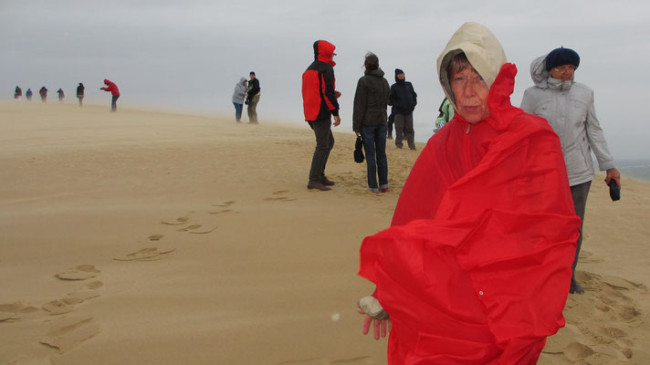 Donnerstag: auf der Düne von Pilat (bei Kälte und Wind)