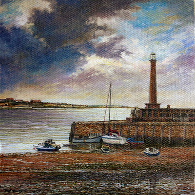 Margate under a magic sky: Oil on Board. H20cm W20cm - AVAILABLE