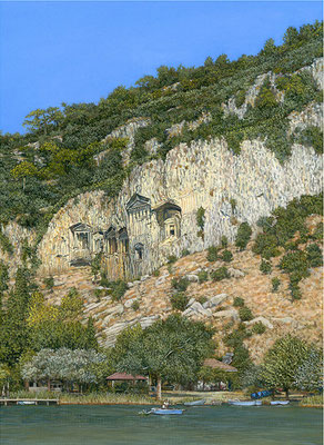 Rock Tombs At Dalyan: Oil on Canvas H35cm W25cm - SOLD